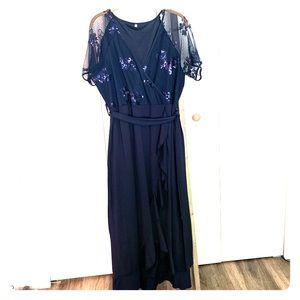 Sequined surplice evening dress